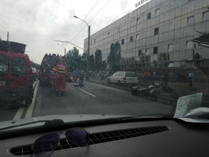 Accident de motocicleta. Sursă FOTO: Info Trafic Făgăraș