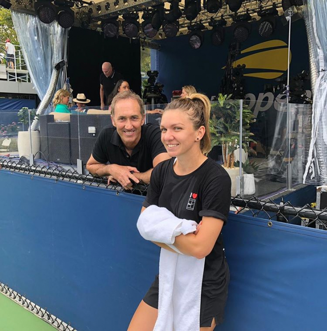 Simona Halep și Darren Cahill după antrenament US OPEN 2019. foto: simonahelp - Instagram