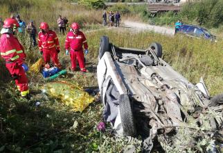 Accident grav la intrarea în Petroșani. FOTO: ISU Hunedoara
