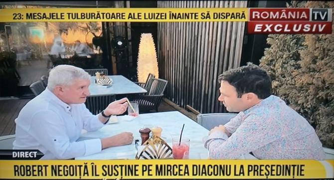 Robert Negoiță și Mircea Diaconu - captură FOTO România TV