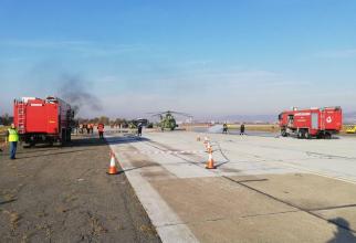 Exercițiu de incendiu pe aeroport. Foto: Facebook / ISU Cluj