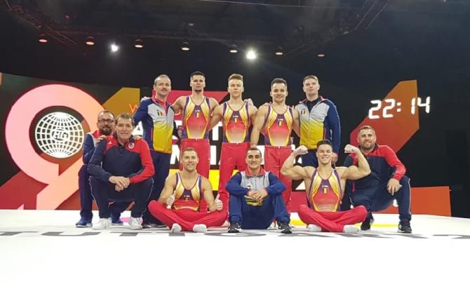 Lotul de gimnastică masculină al României, la Stuttgart 2019. foto: COSR - FB