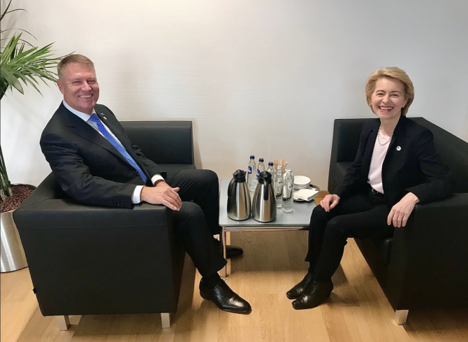 Klaus Iohannis, discutie cu Ursula von der Leyen - Foto Twitter Klaus Iohannis