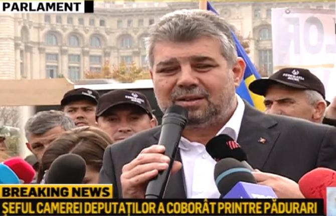Protestul silvicultorilor. Marcel Ciolacu a coborât printre pădurari. Propunere imediată
