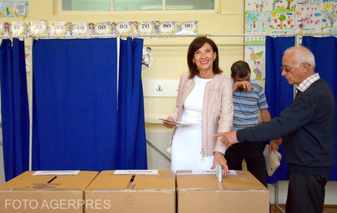Carmen Iohannis a votat. Foto: Agerpres