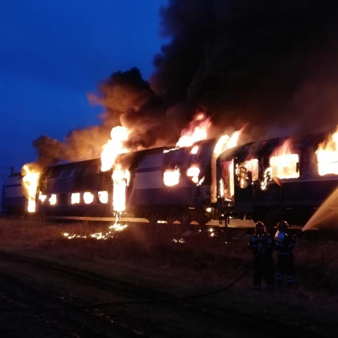Incendiu tren. Foto: CFR SA