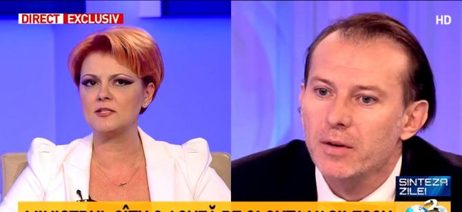 Lia Olguța Vasilescu și Florin Cîțu, captură Antena 3