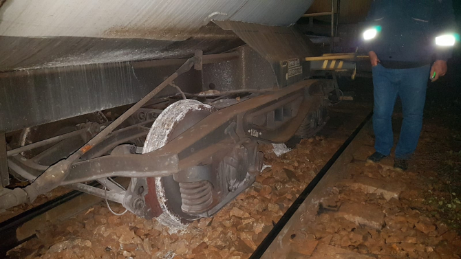 Tren deraiat. Foto: IPJ Mehedinți