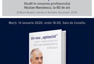 """Un nou """"optzecist"""" – studii în onoarea profesorului Nicolae Manolescu, la 80 de ani"""
