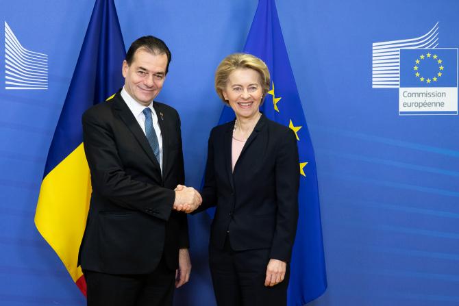 Întrevederea premierului Ludovic Orban cu Ursula von der Leyen, președintele Comisiei Europene, și declarații comune de presă. Foto: gov.ro