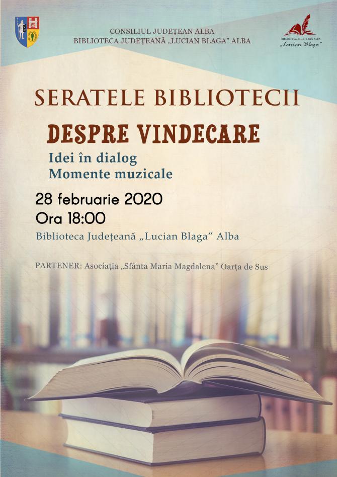 Despre vindecare, dezbatere la Biblioteca Județeană Lucian Blaga Alba