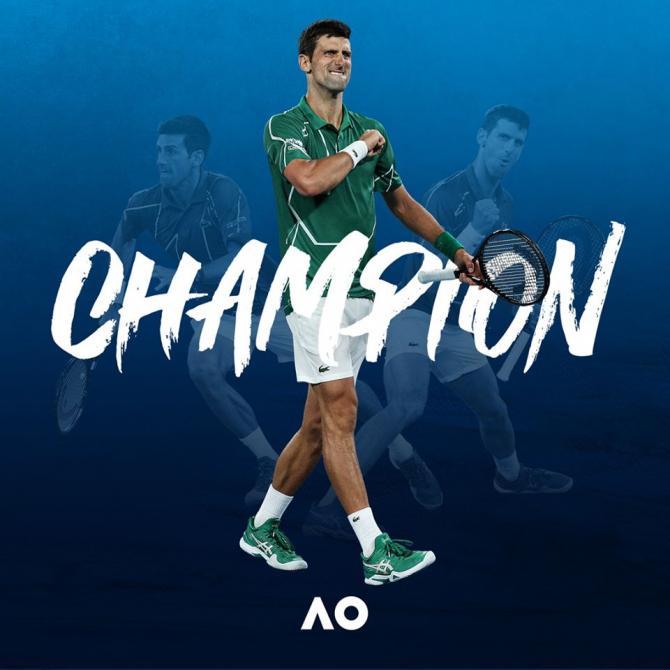 Novak Djokovic a câştigat pentru a opta oară Australian Open. foto: @AustralianOpen - FB