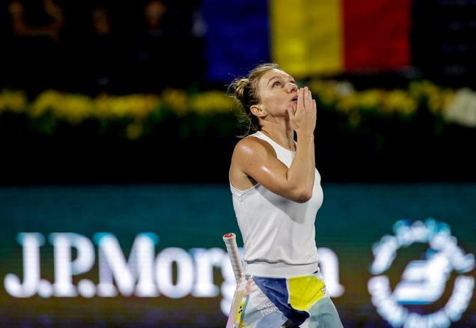 Simona halep, victorie. foto: Dubai Duty Free Tennis Championships @ddftennis - FB