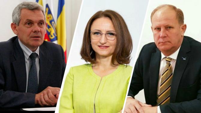 Prefectul de Sibiu, Mircea Creţu, Daniela Cîmpean, președintele CJ Sibiu și liderul ALDE Sibiu, Ovidiu Gheorghe Tocaciu