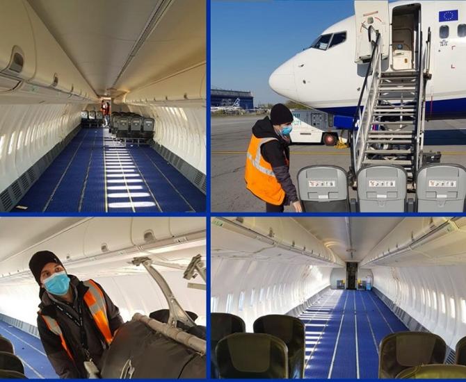 Blue Air a modificat un avion pentru a transporta echipamente medicale