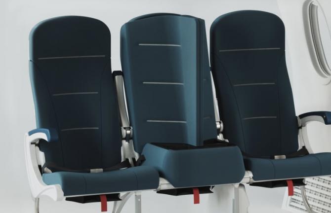 Foto:  Courtesy Universal Movement / CNN. Nou concept de scaun pentru avion: Interspace Lite este un nou design al scaunului de avion