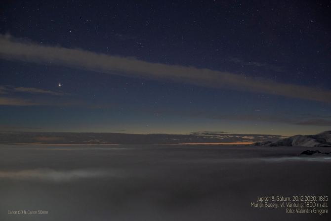 Conjuncție Jupiter - Saturn. Foto: Valentin Grigore