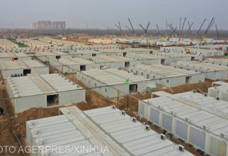 O tabără pentru pacienți și contacți Covid este construită la Hebei, China.