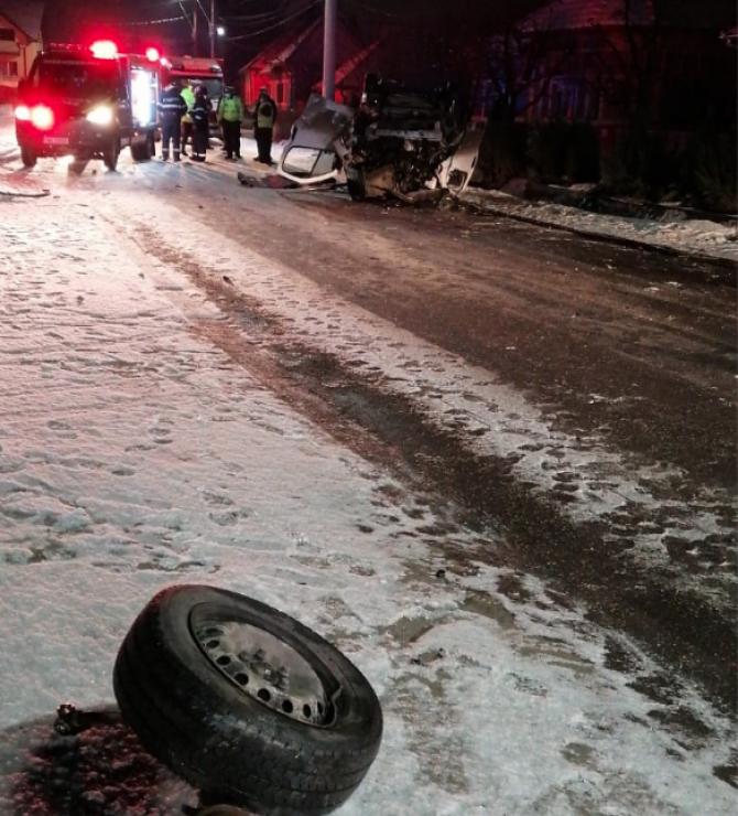Un accident mortal a avut loc în această dimineață în județul Mureș. Foto: ISU Mureș.