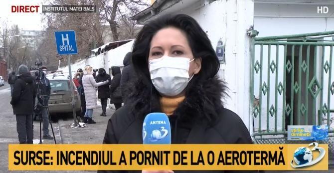 Incendiu la Matei Balș / Captură Antena 3
