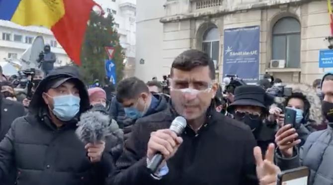 foto captură LIVE PROTESTE George Simion