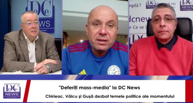 Bogdan Chirieac, Cozmin Gușă și Val Vâlcu, în direct la DC News TV.