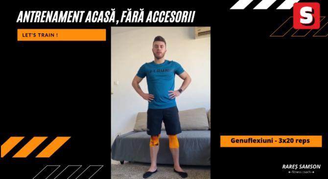 Antrenorul de fitness Rareș Samson te învață cum să faci sport acasă, fără accesorii / VIDEO