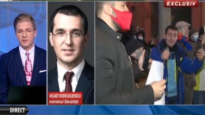Vlad Voiculescu, incoerent atunci când a fost întrebat despre DEMISIE. Foto: Captură România TV.