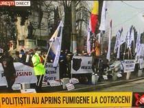 Polițiștii protestează la Cotroceni / Captură Realitatea Plus