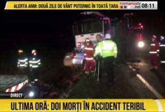 Accident cu doi morți în Timiș. Șoferul a adormit la volan  /  Foto captură: România TV