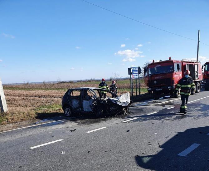 Accident grav pe un drum din județul Olt. Foto: ISU Olt