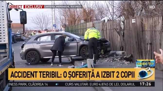 Captură video cu maşina după accident
