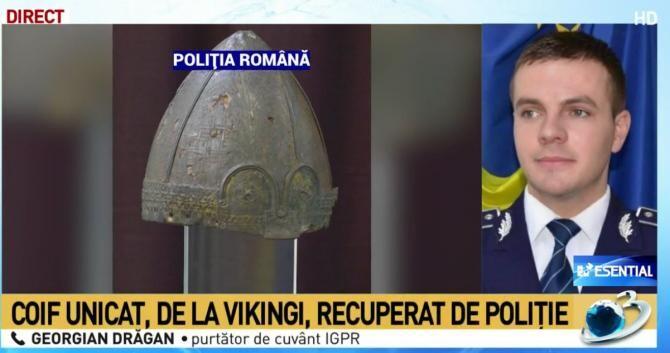 Coif medieval, de sorginte vikingă, din secolele X-XIII, unicat în România, recuperat / Foto captură Antena 3