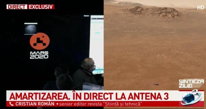 Roverul Perseverance, lansat de NASA, a atins suprafața planetei Marte. Cristian Român: Moment fastuos! / Foto captură Antena 3