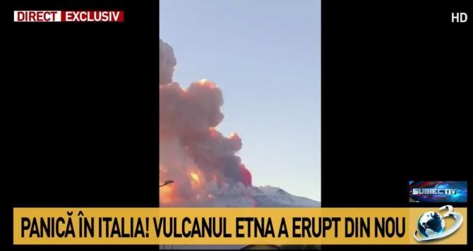 Vulcanul Etna a erupt / Captură Antena 3