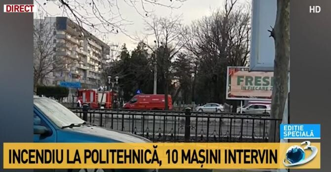 INCENDIU Politehnică. Intervenție de urgență / Captură Antena 3
