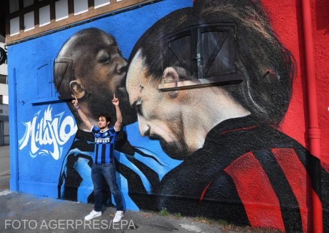 Lukaku și Ibrahimovic, pictați pe un perete din Milano