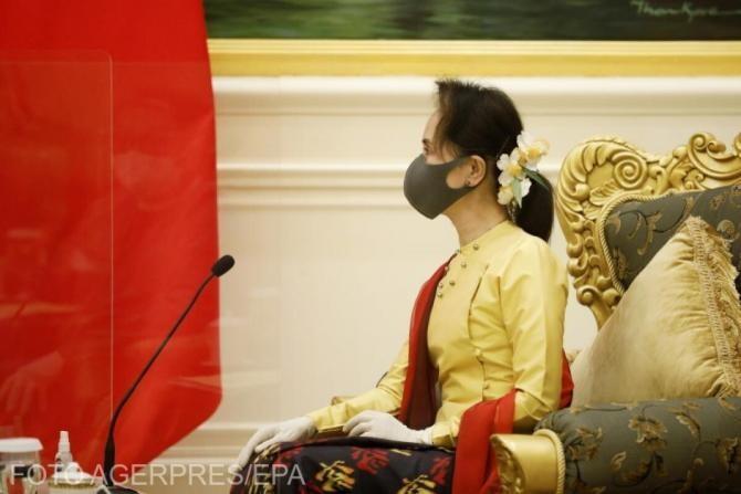 Poliția din Myanmar a solicitat REȚINEREA liderei Aung San Suu Kyi, răsturnată de la putere prin lovitură de stat