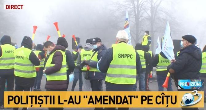 Protest polițiști / Captură Antena 3