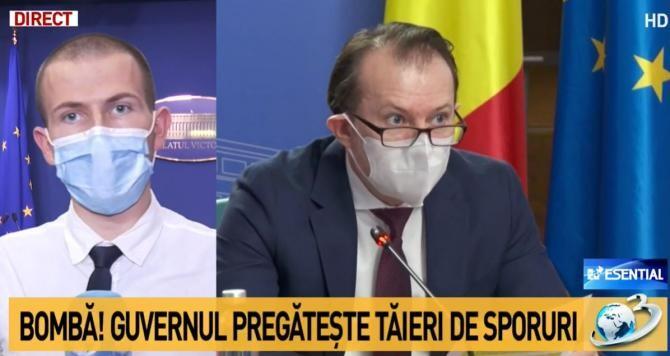 """OUG prin care Guvernul să facă """"economii"""". Pe lista tăierilor s-ar afla călătoriile gratuite ale studenților / Captură Antena 3"""