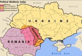Teritoriile fostului Voievodat al Moldovei, azi împărțite între România (roz), republica Moldova (roșu) şi Ucraina (portocaliu), sursă foto: Wikipedia