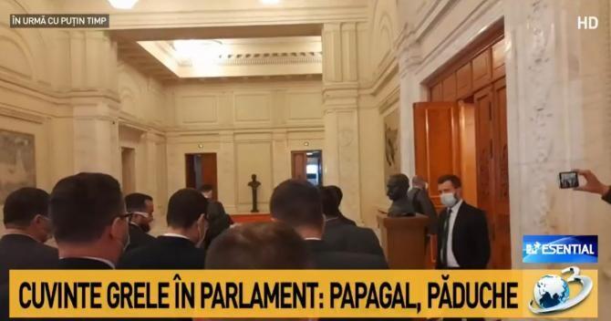"""Scandal groaznic pe holul Parlamentului. Deputați USR și AUR, la un pas de bătaie! """"Băi păduche, dispari!"""""""