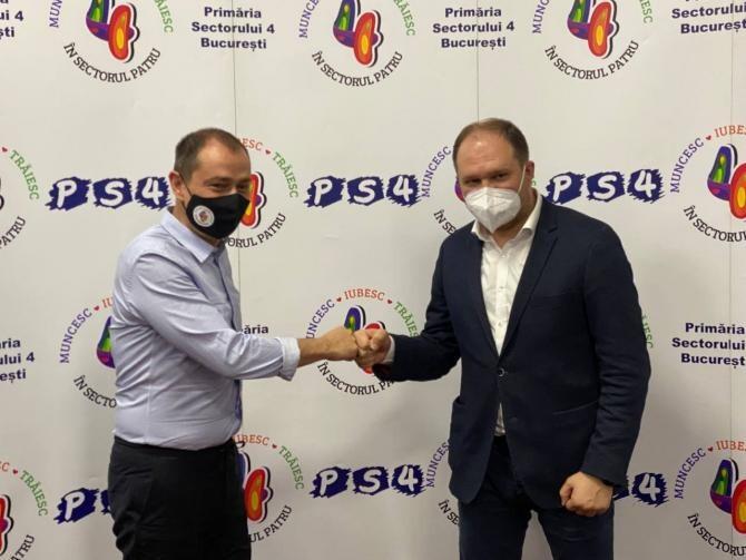 Primarul Chișinăului laudă faptul că bucureștenii poartă masca. Acesta s-a întâlnit cu Daniel Băluță  /  Foto:  Facebook Ion Ceban