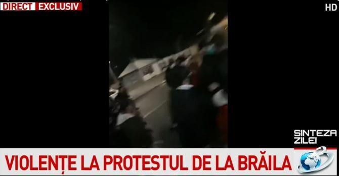 Protest Brăila / Captură Antena 3