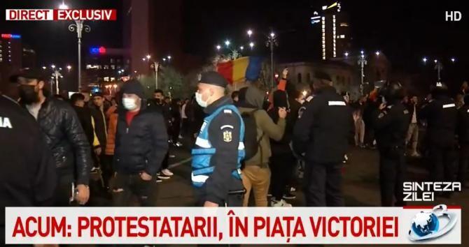Protest București / Captură Antena 3