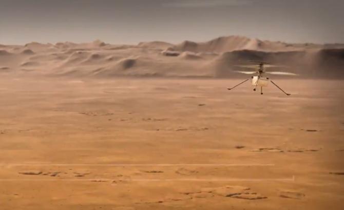 Elicopterul Ingenuity de pe roverul Perseverance e pregătit de decolare / Foto cu caracter ilustrativ: Captură simulare video Twitter