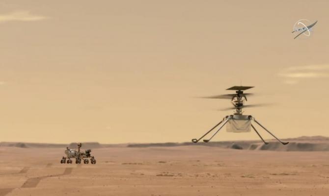 NASA. Primul zbor pe Marte al mini-elicopterului Ingenuity / Foto NASA