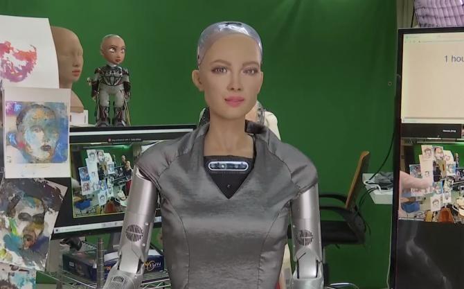 Primul tablou realizat de robotul Sofia a fost vândut la o licitație / Sursă foto: Captură foto Twitter