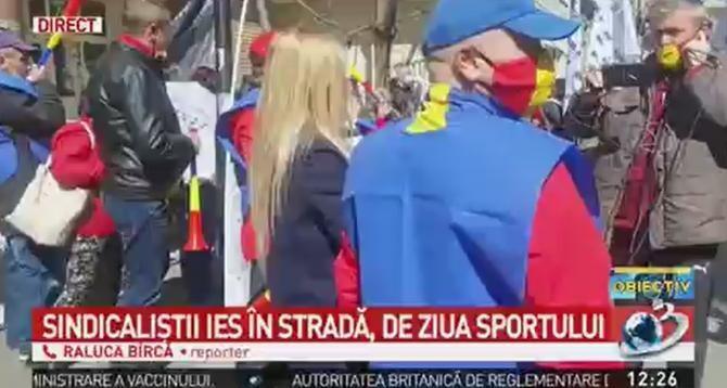 Protest la Ministerul Tineretului și Sportului. Sindicaliștii au ieșit în stradă  /  Sursă foto: Captură Antena 3