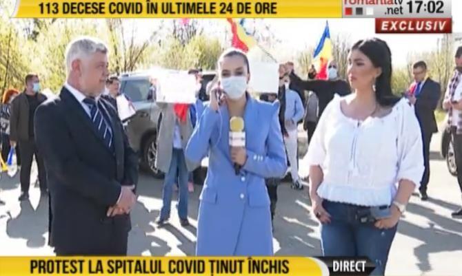 Protest la Spitalul modular din Pipera / Captură RomâniaTV